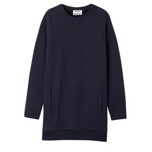 Acne Studios Navy Oversized Sweatshirt Dress